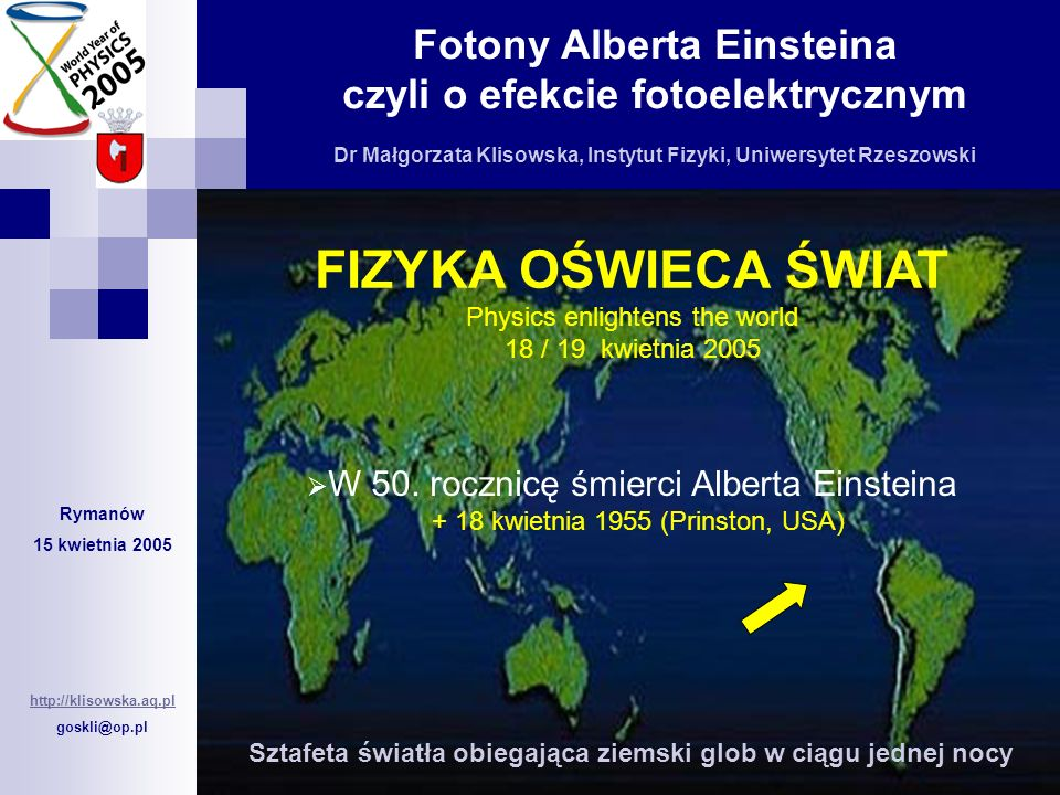 FIZYKA OŚWIECA ŚWIAT Physics enlightens the world