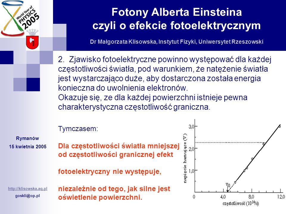 2. Zjawisko fotoelektryczne powinno występować dla każdej częstotliwości światła, pod warunkiem, że natężenie światła jest wystarczająco duże, aby dostarczona została energia konieczna do uwolnienia elektronów.