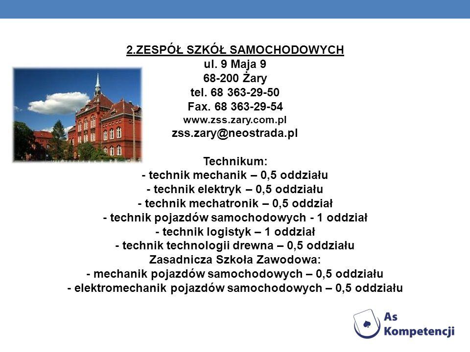 2.ZESPÓŁ SZKÓŁ SAMOCHODOWYCH ul. 9 Maja 9 68-200 Żary