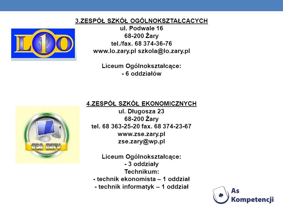 3.ZESPÓŁ SZKÓŁ OGÓLNOKSZTAŁCĄCYCH ul. Podwale 16 68-200 Żary tel./fax.
