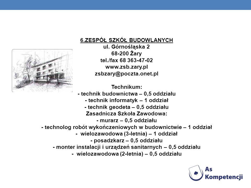 6. ZESPÓŁ SZKÓŁ BUDOWLANYCH ul. Górnośląska 2 68-200 Żary tel