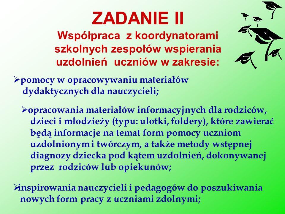 ZADANIE II Współpraca z koordynatorami szkolnych zespołów wspierania uzdolnień uczniów w zakresie: