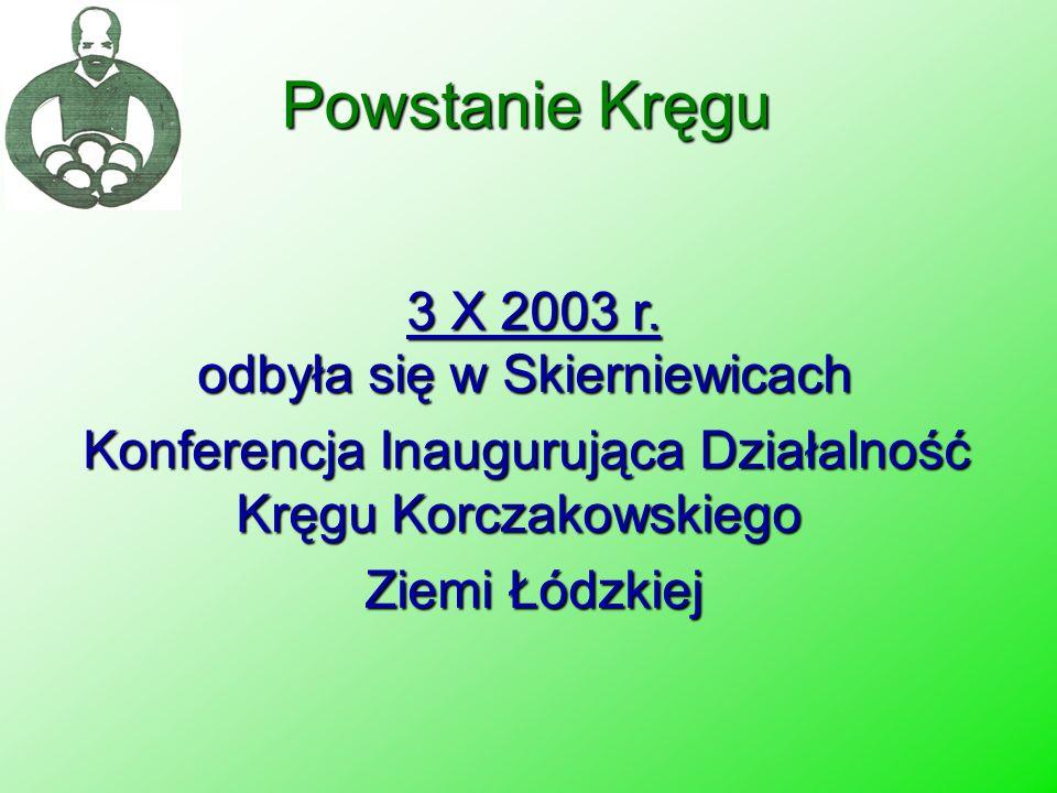 Powstanie Kręgu 3 X 2003 r. odbyła się w Skierniewicach