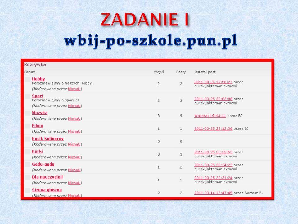 ZADANIE I wbij-po-szkole.pun.pl