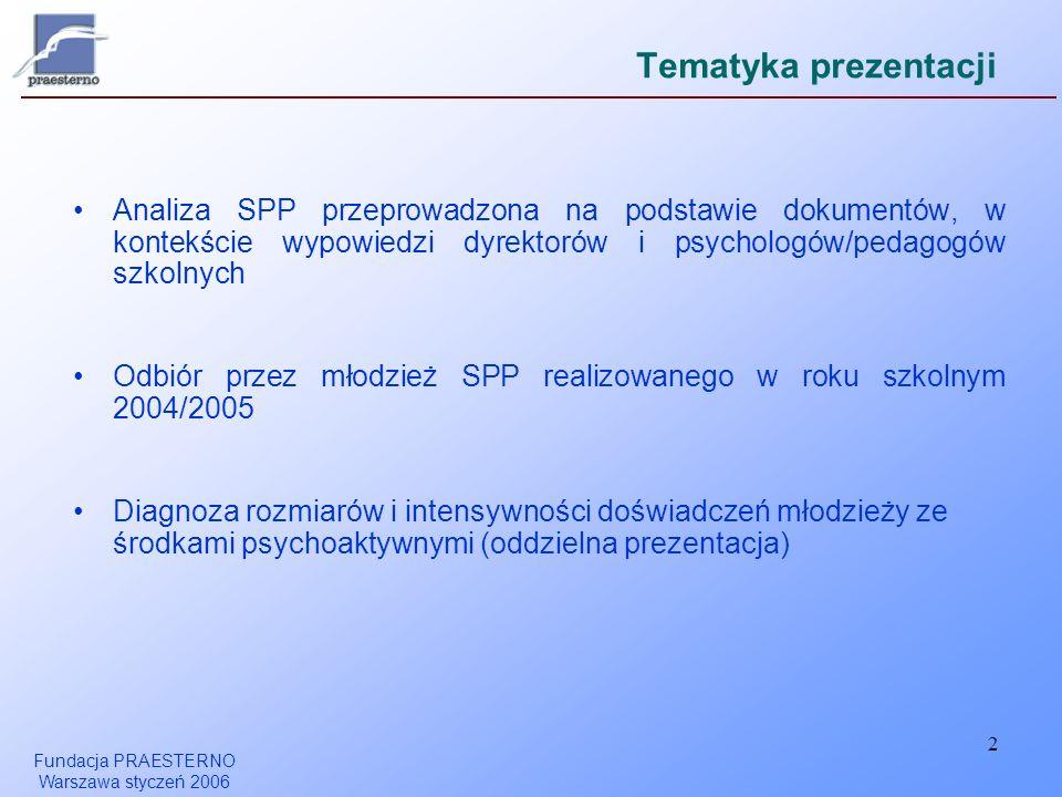 Tematyka prezentacji Analiza SPP przeprowadzona na podstawie dokumentów, w kontekście wypowiedzi dyrektorów i psychologów/pedagogów szkolnych.