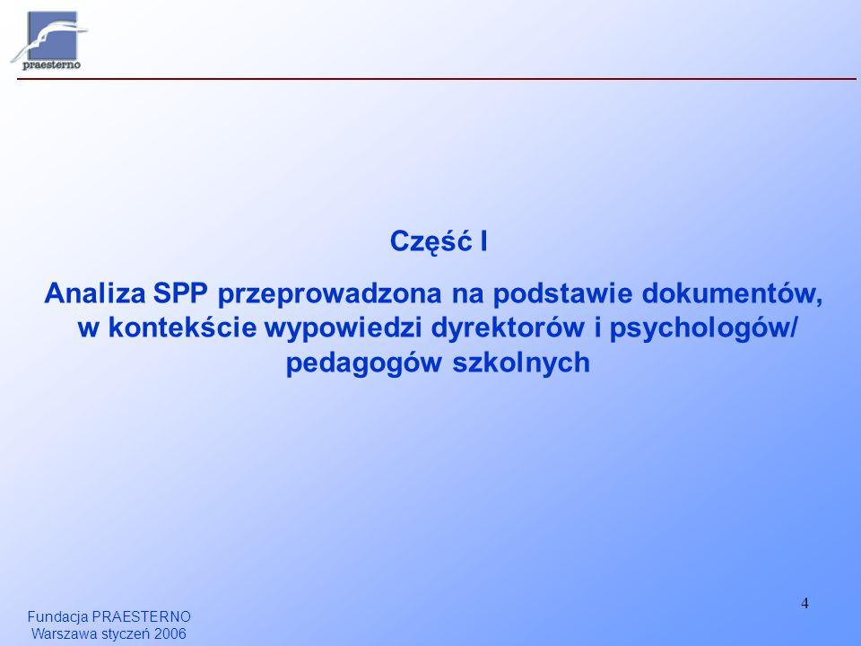 Część I Analiza SPP przeprowadzona na podstawie dokumentów, w kontekście wypowiedzi dyrektorów i psychologów/ pedagogów szkolnych.