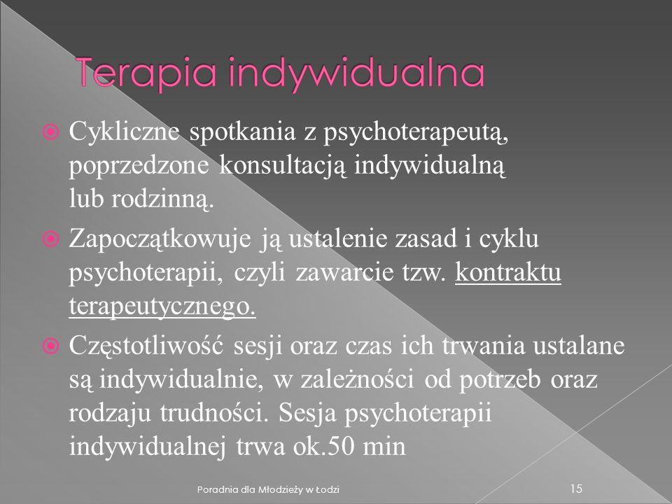 Cykliczne spotkania z psychoterapeutą, poprzedzone konsultacją indywidualną lub rodzinną.