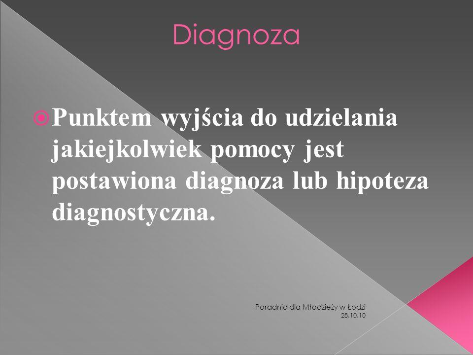 Diagnoza Punktem wyjścia do udzielania jakiejkolwiek pomocy jest postawiona diagnoza lub hipoteza diagnostyczna.