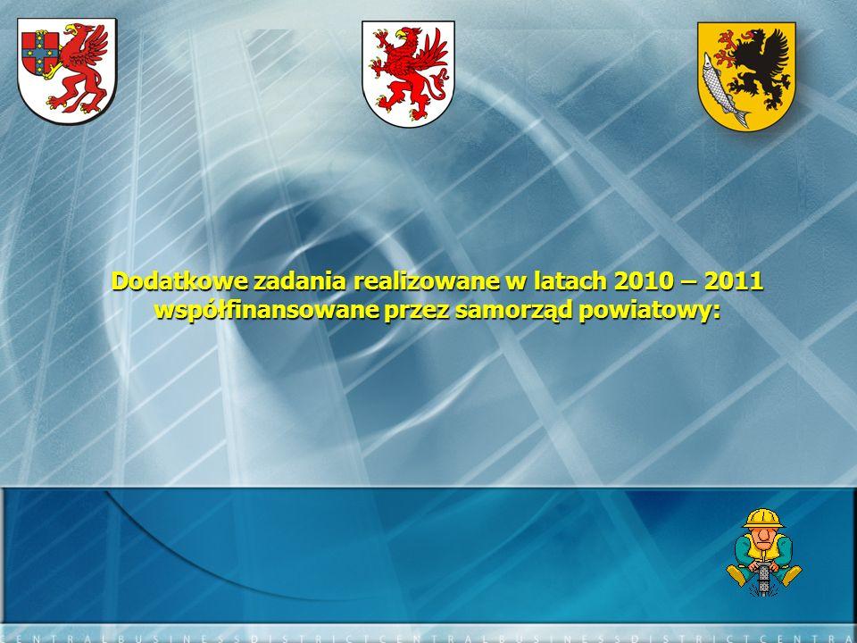 Dodatkowe zadania realizowane w latach 2010 – 2011 współfinansowane przez samorząd powiatowy: