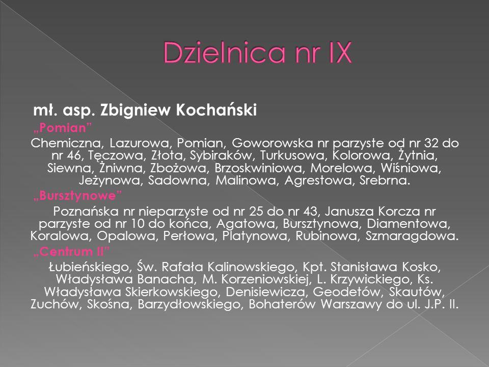 """Dzielnica nr IX mł. asp. Zbigniew Kochański """"Pomian"""