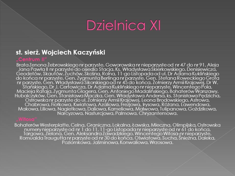 """Dzielnica XI st. sierż. Wojciech Kaczyński """"Centrum II """"Witosa"""