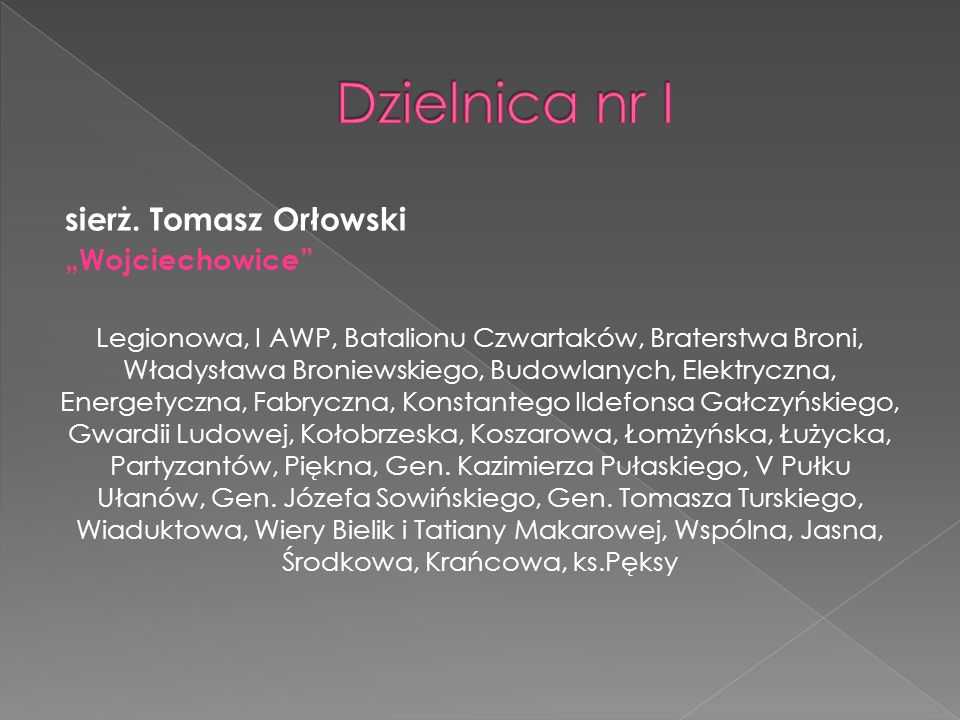 """Dzielnica nr I sierż. Tomasz Orłowski """"Wojciechowice"""