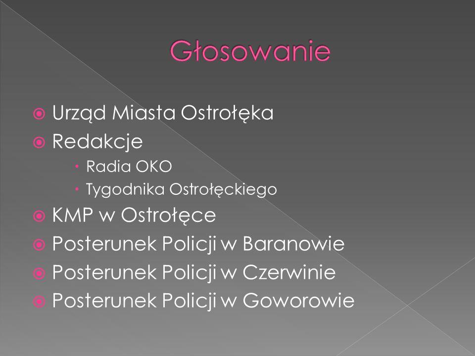 Głosowanie Urząd Miasta Ostrołęka Redakcje KMP w Ostrołęce