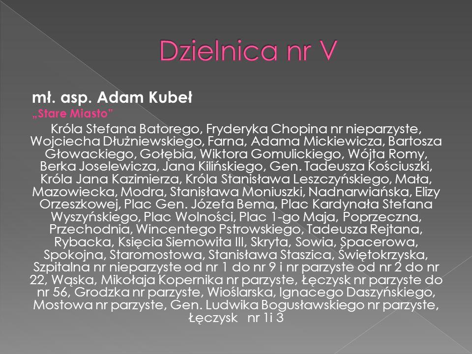 Dzielnica nr V mł. asp. Adam Kubeł