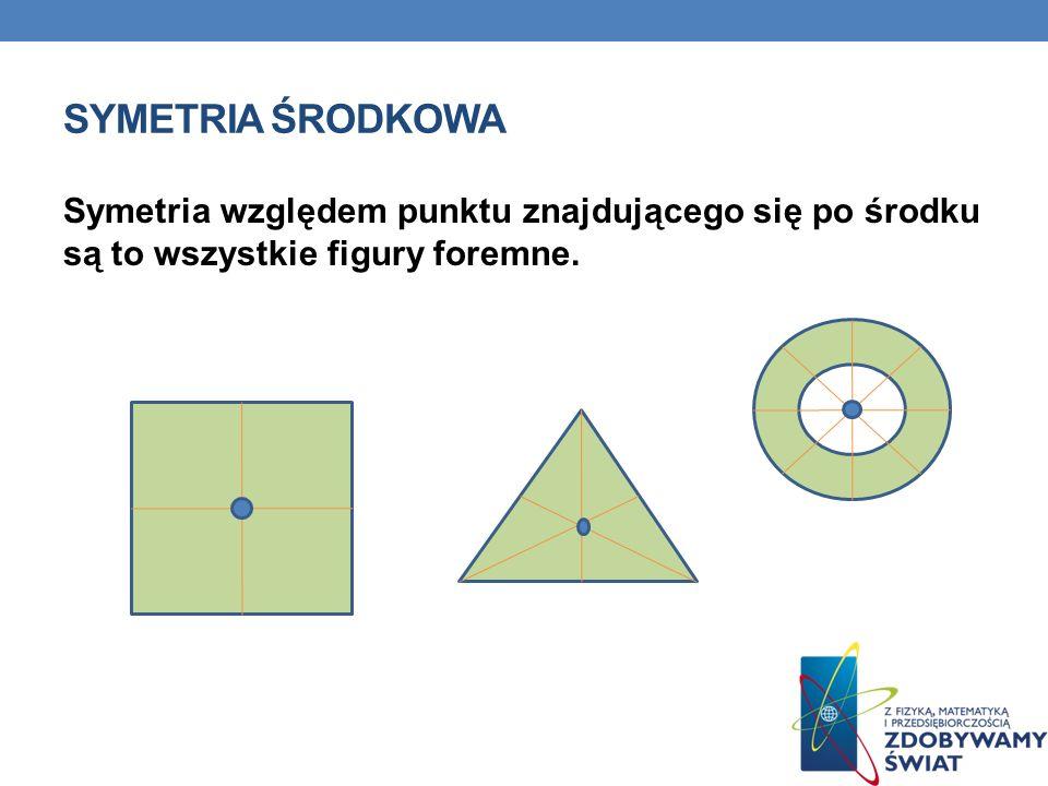 Symetria Środkowa Symetria względem punktu znajdującego się po środku są to wszystkie figury foremne.
