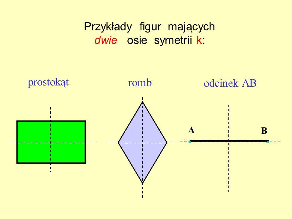 Przykłady figur mających dwie osie symetrii k:
