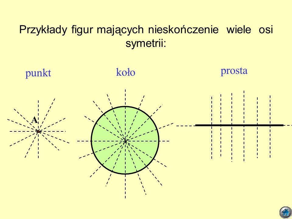Przykłady figur mających nieskończenie wiele osi symetrii: