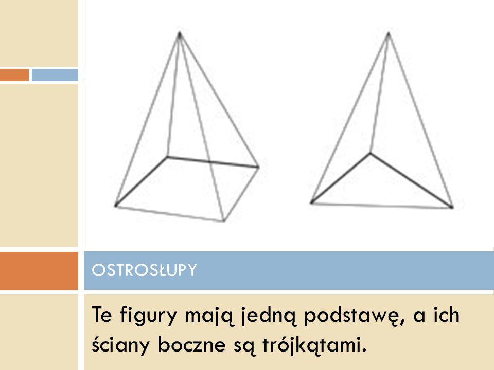 Te figury mają jedną podstawę, a ich ściany boczne są trójkątami.