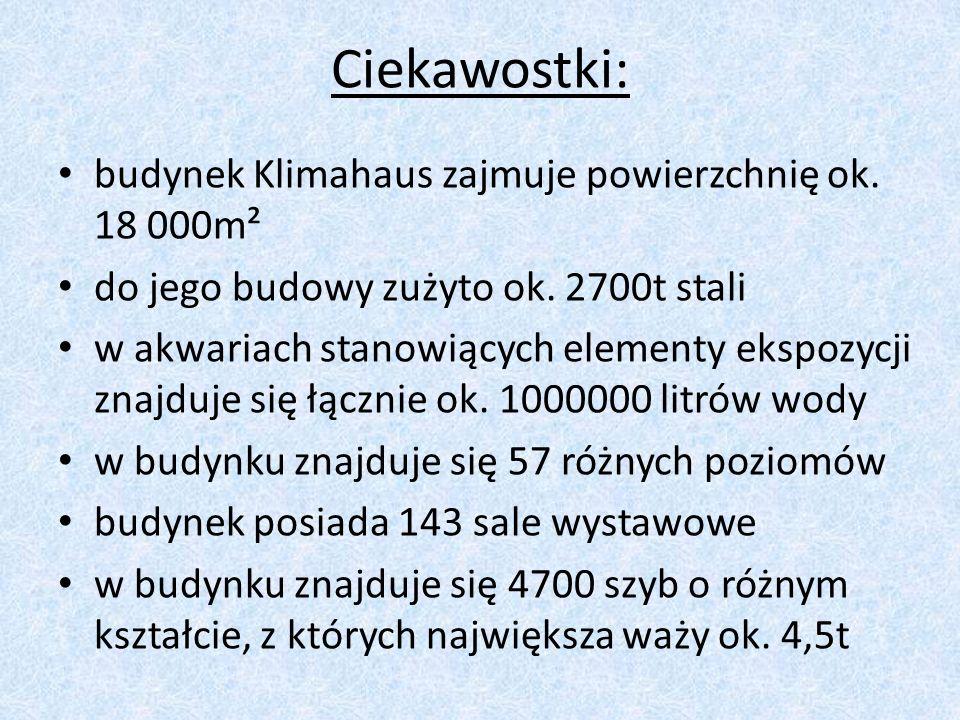 Ciekawostki: budynek Klimahaus zajmuje powierzchnię ok. 18 000m²