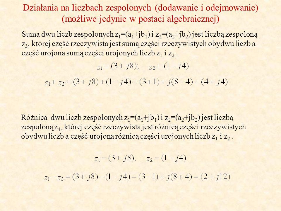 Działania na liczbach zespolonych (dodawanie i odejmowanie)