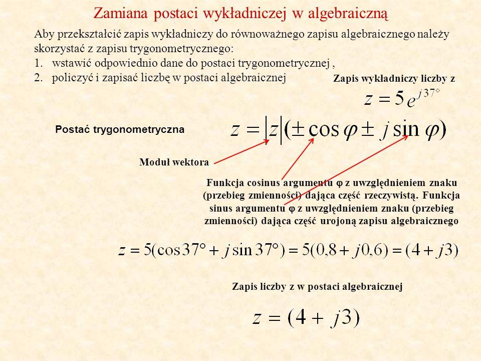 Zapis wykładniczy liczby z Zapis liczby z w postaci algebraicznej