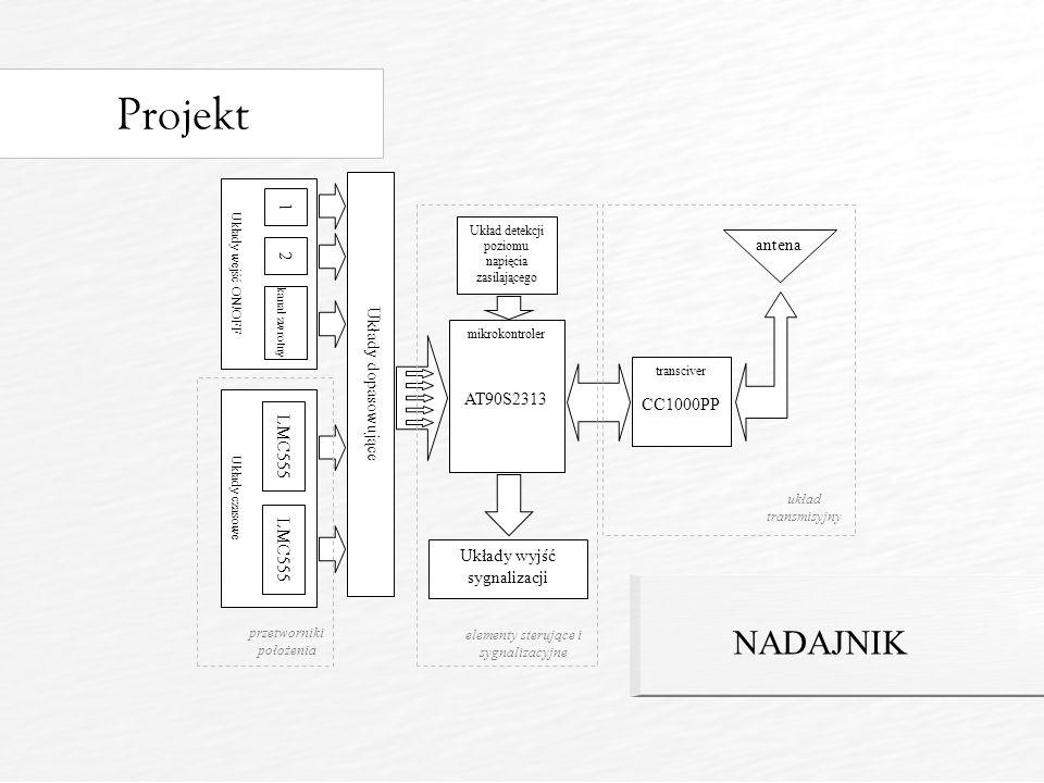 Projekt NADAJNIK 1 antena Układy dopasowujące 2 AT90S2313 CC1000PP