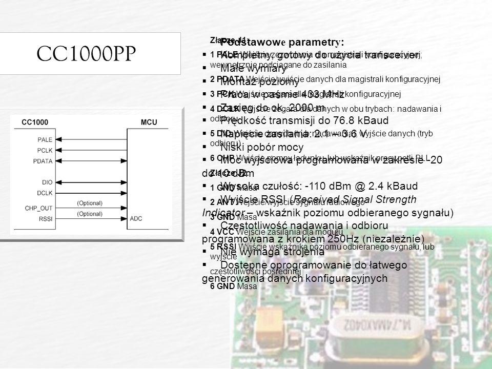 CC1000PP Podstawowe parametry: Kompletny, gotowy do użycia transceiver