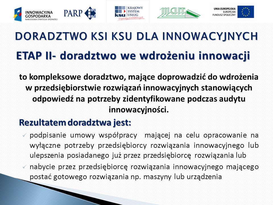 ETAP II- doradztwo we wdrożeniu innowacji