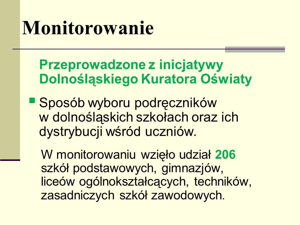 Monitorowanie Przeprowadzone z inicjatywy Dolnośląskiego Kuratora Oświaty.