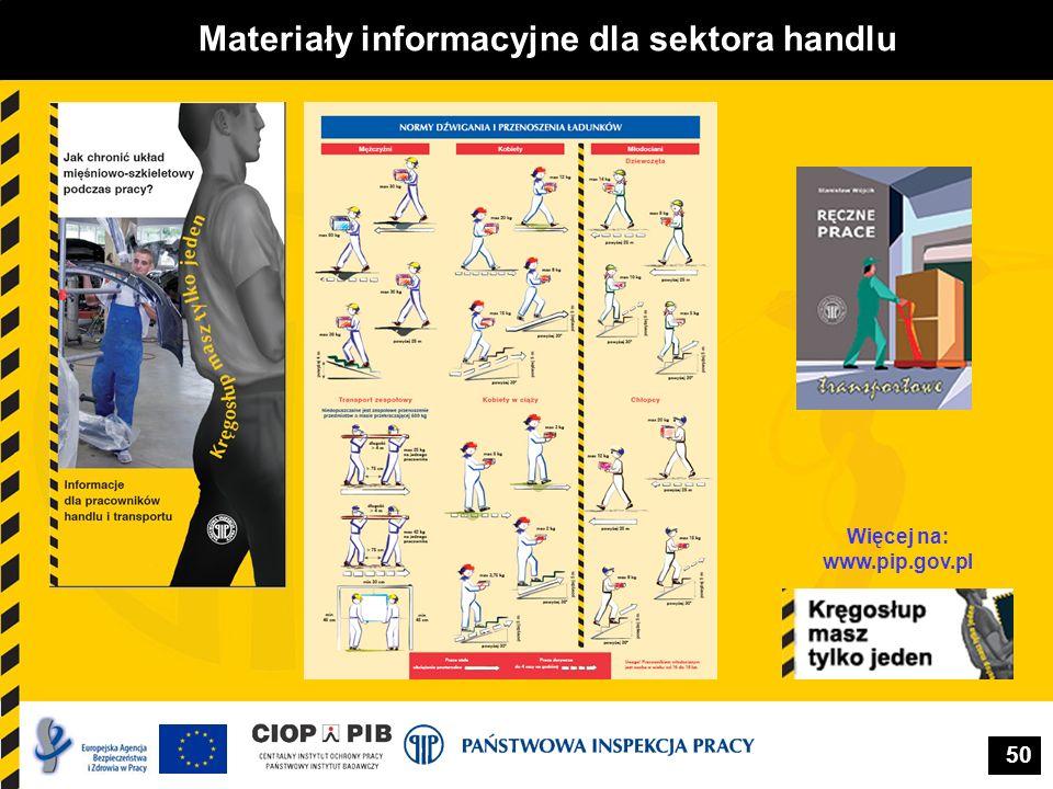 Materiały informacyjne dla sektora handlu Więcej na: www.pip.gov.pl