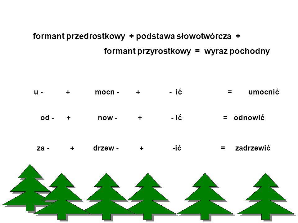 formant przedrostkowy + podstawa słowotwórcza +