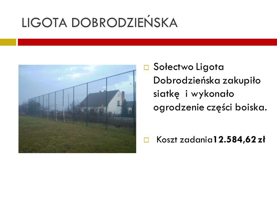 LIGOTA DOBRODZIEŃSKA Sołectwo Ligota Dobrodzieńska zakupiło siatkę i wykonało ogrodzenie części boiska.