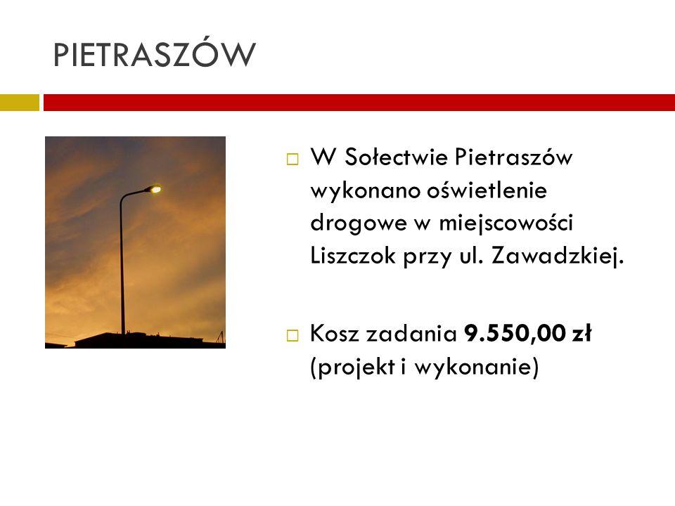 PIETRASZÓW W Sołectwie Pietraszów wykonano oświetlenie drogowe w miejscowości Liszczok przy ul. Zawadzkiej.