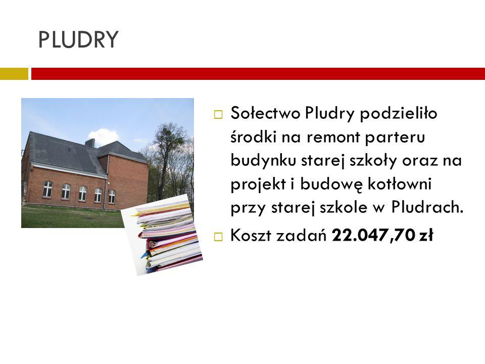 PLUDRY Sołectwo Pludry podzieliło środki na remont parteru budynku starej szkoły oraz na projekt i budowę kotłowni przy starej szkole w Pludrach.