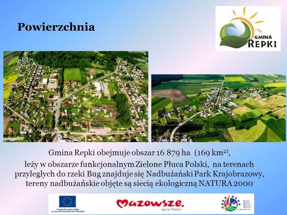 Gmina Repki obejmuje obszar 16 879 ha (169 km2),