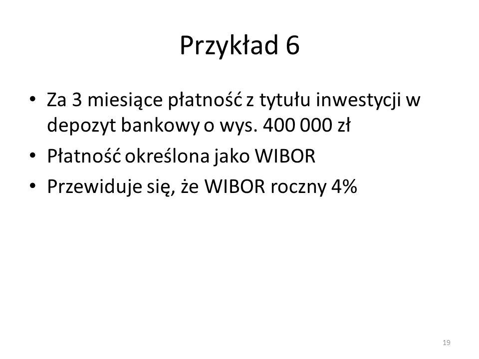 Przykład 6 Za 3 miesiące płatność z tytułu inwestycji w depozyt bankowy o wys. 400 000 zł. Płatność określona jako WIBOR.