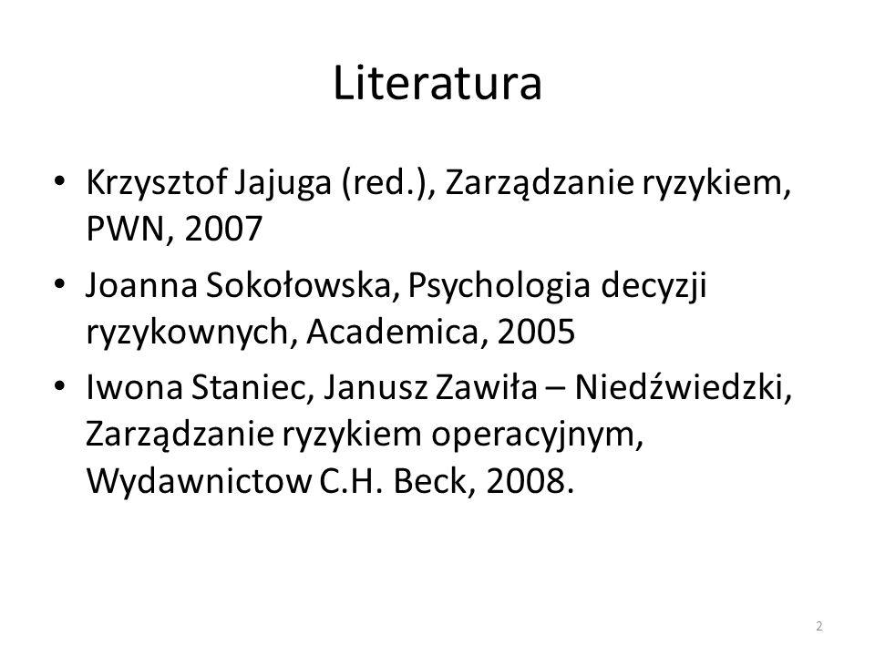 Literatura Krzysztof Jajuga (red.), Zarządzanie ryzykiem, PWN, 2007