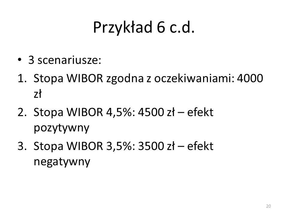 Przykład 6 c.d. 3 scenariusze: