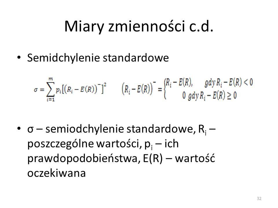 Miary zmienności c.d. Semidchylenie standardowe