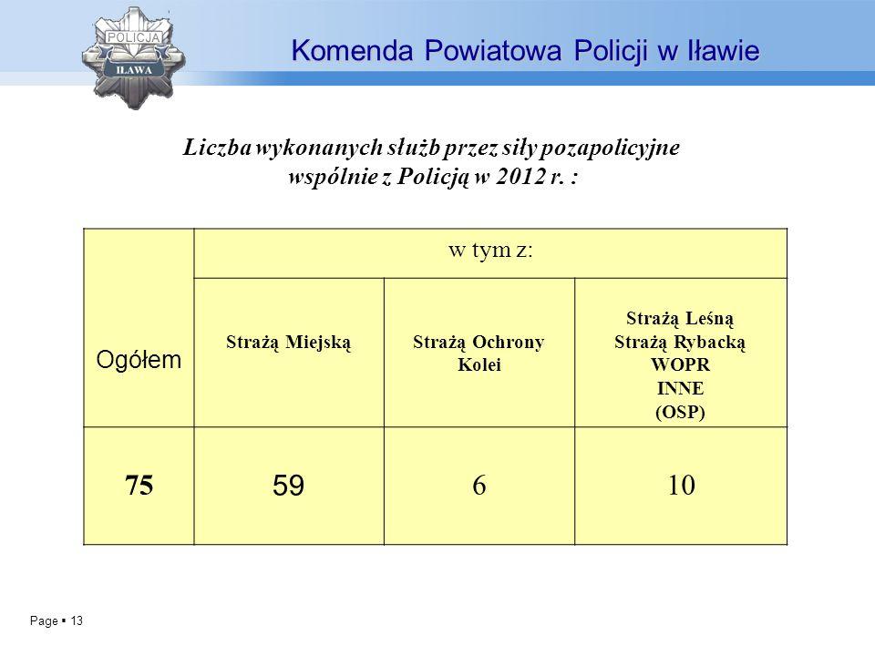Liczba wykonanych służb przez siły pozapolicyjne
