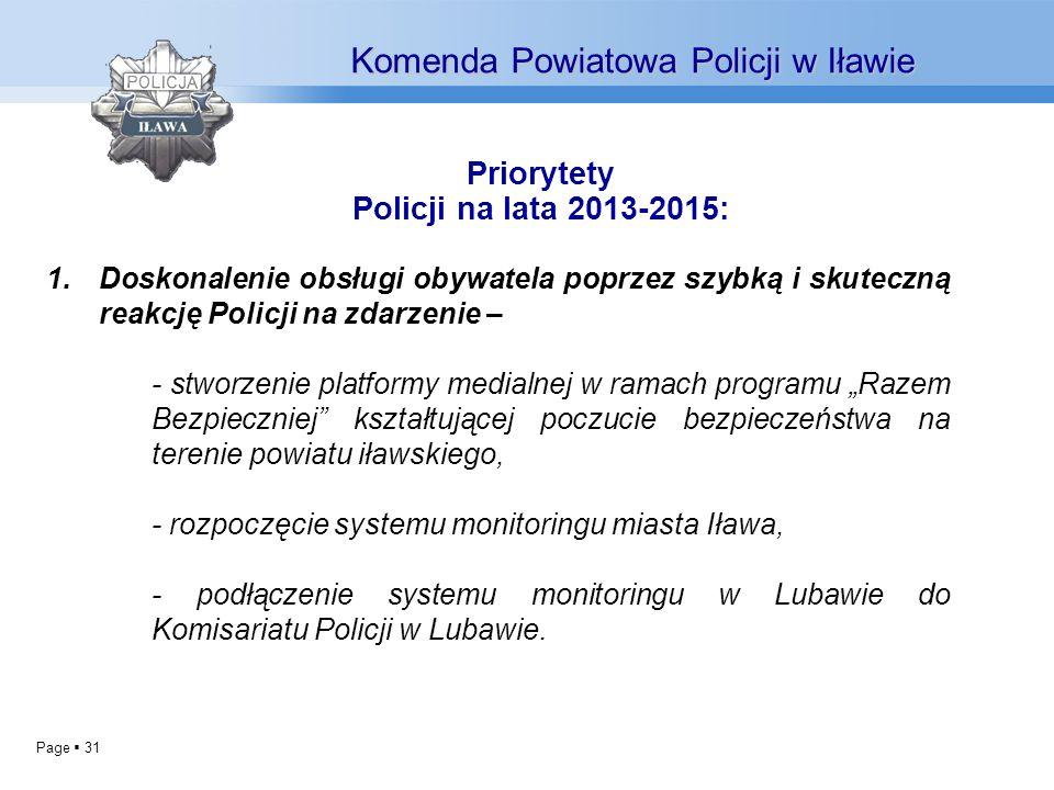Priorytety Policji na lata 2013-2015: