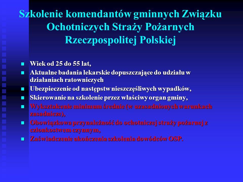 Szkolenie komendantów gminnych Związku Ochotniczych Straży Pożarnych Rzeczpospolitej Polskiej