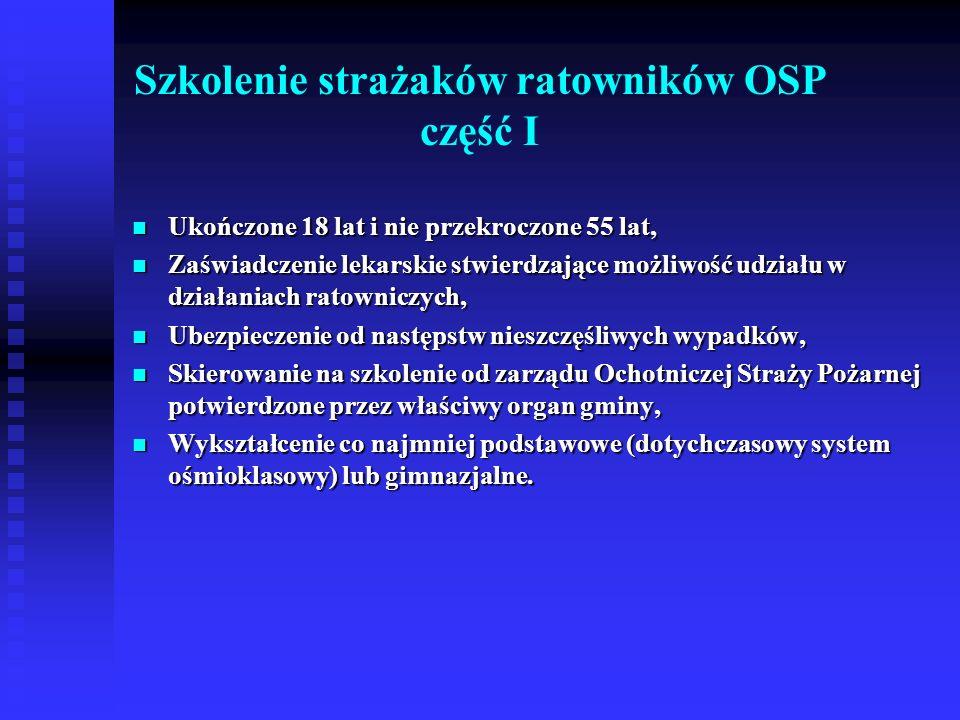Szkolenie strażaków ratowników OSP część I