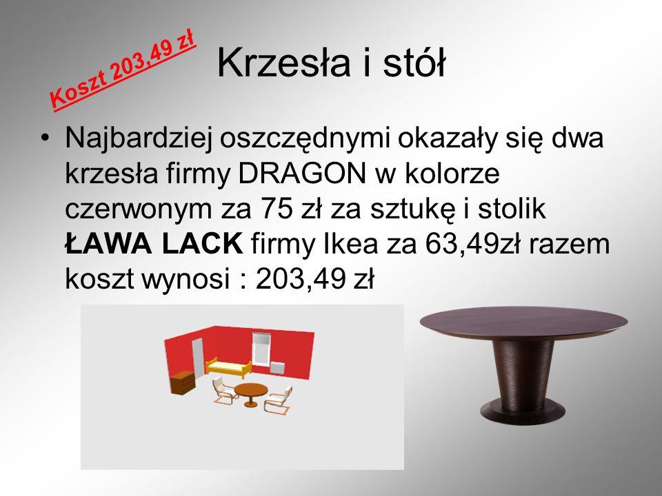 Krzesła i stół Koszt 203,49 zł.