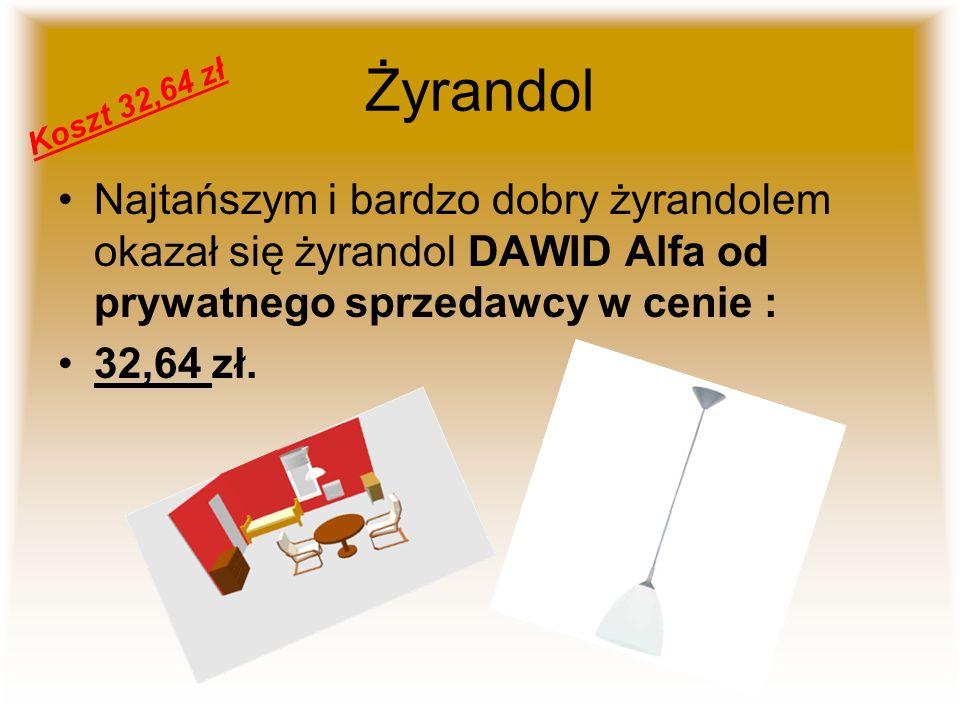Żyrandol Koszt 32,64 zł. Najtańszym i bardzo dobry żyrandolem okazał się żyrandol DAWID Alfa od prywatnego sprzedawcy w cenie :