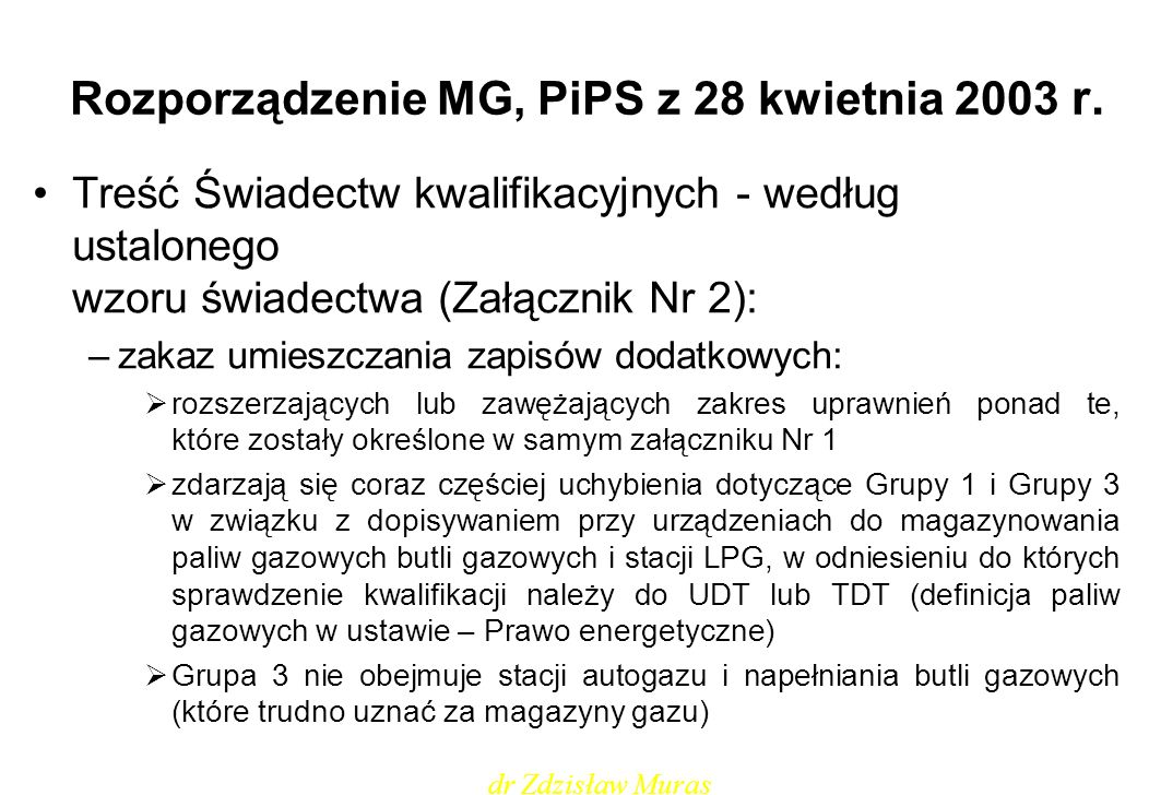 Rozporządzenie MG, PiPS z 28 kwietnia 2003 r.