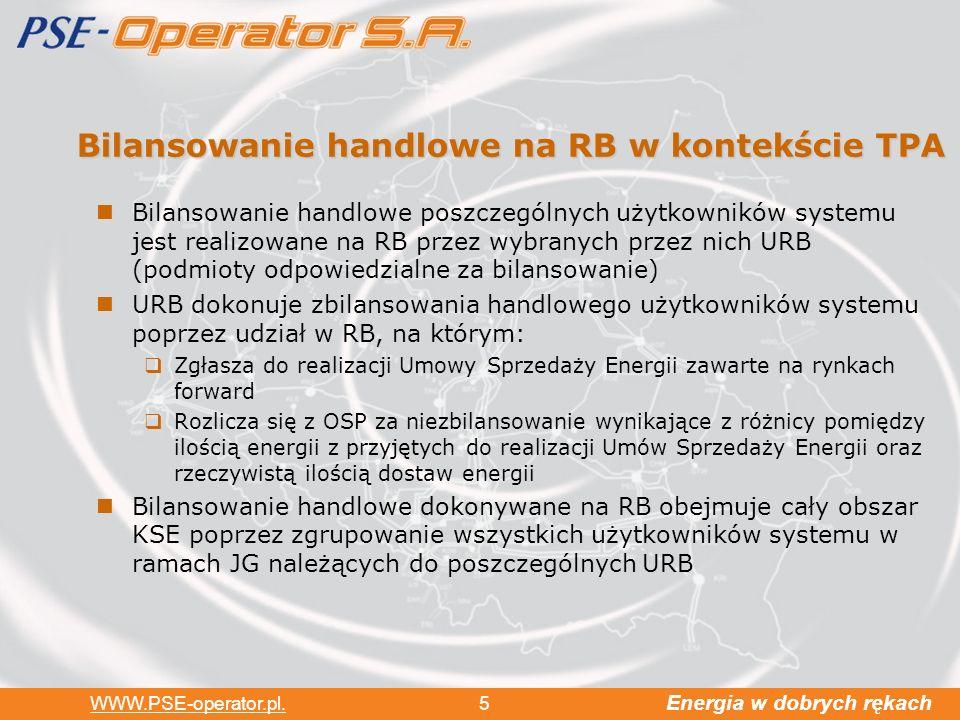 Bilansowanie handlowe na RB w kontekście TPA