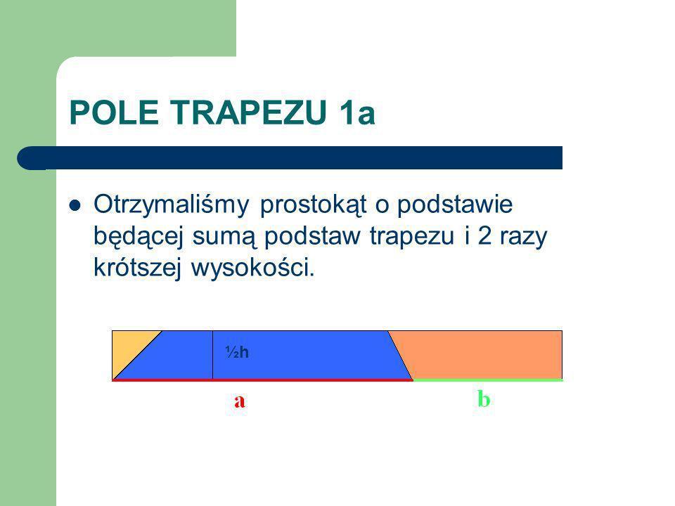 POLE TRAPEZU 1a Otrzymaliśmy prostokąt o podstawie będącej sumą podstaw trapezu i 2 razy krótszej wysokości.