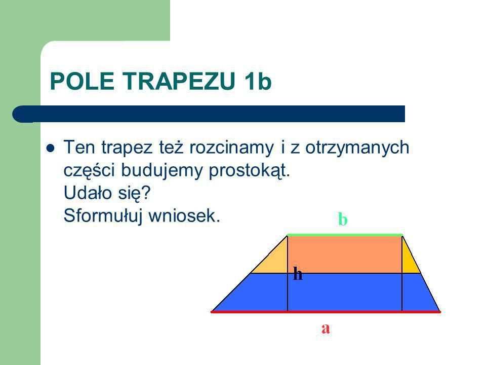 POLE TRAPEZU 1b Ten trapez też rozcinamy i z otrzymanych części budujemy prostokąt.