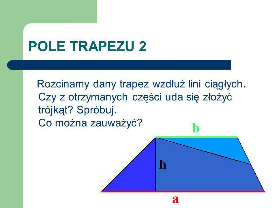 POLE TRAPEZU 2 Rozcinamy dany trapez wzdłuż lini ciągłych.